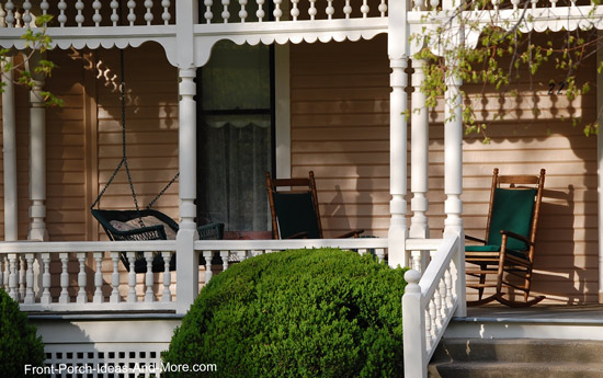 shorter turned balusters on front porch railings