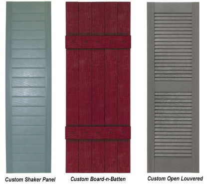 sample of three shutter styles and colors by mobile parts store