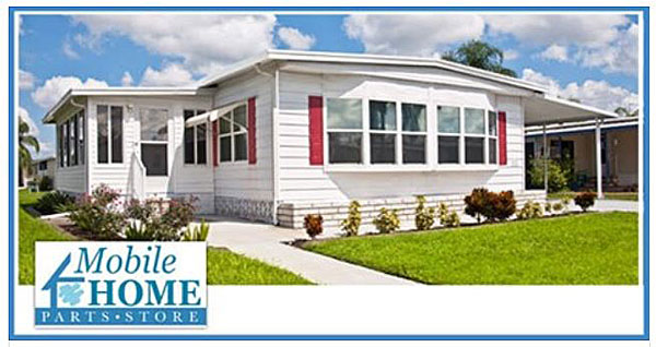 mobile home parts store home with red shutters