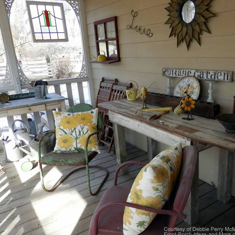 front porch with vintage furniture