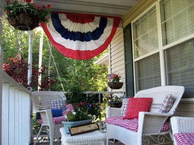 Marjorie's patriotic front porch