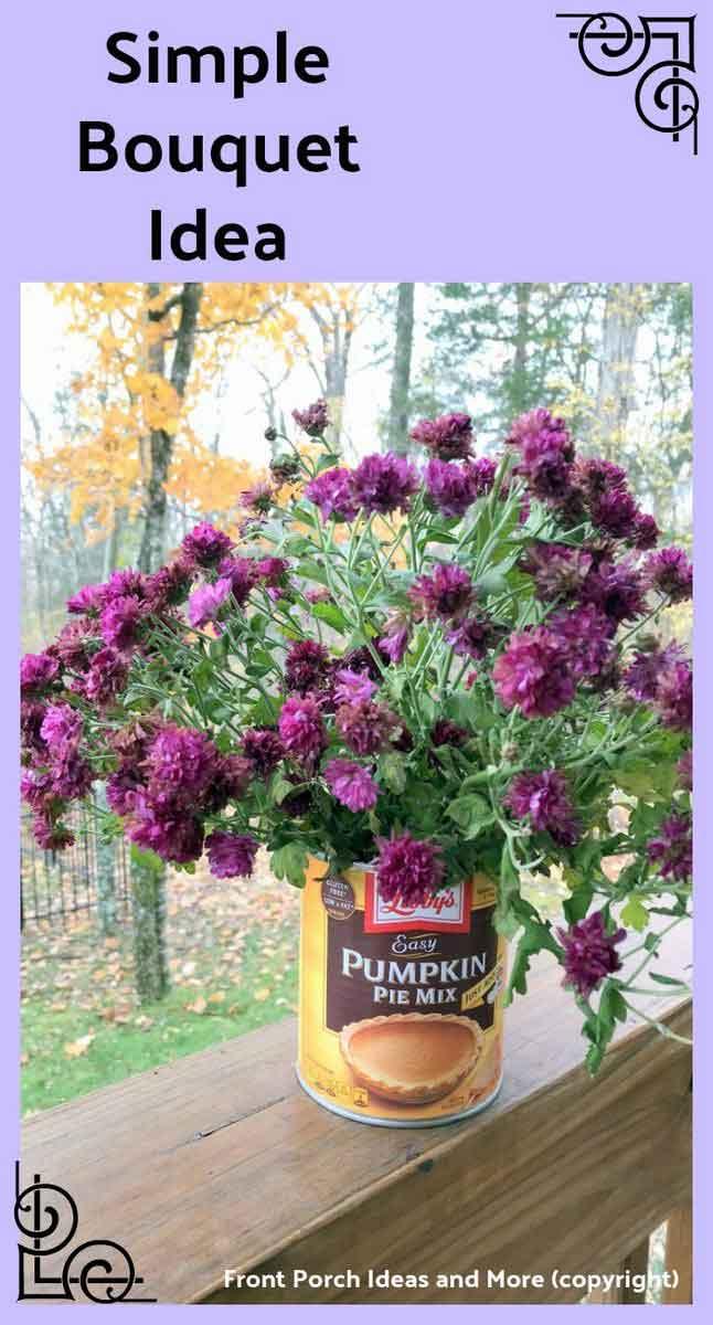 simple bouquet idea with pumpkin pie tin can
