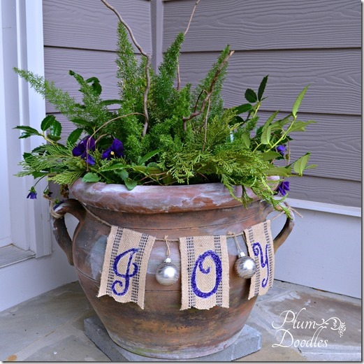 Simple Christmas decorating by Plum Doodles - flower pot with joy banner