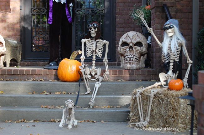skeletons on porch steps