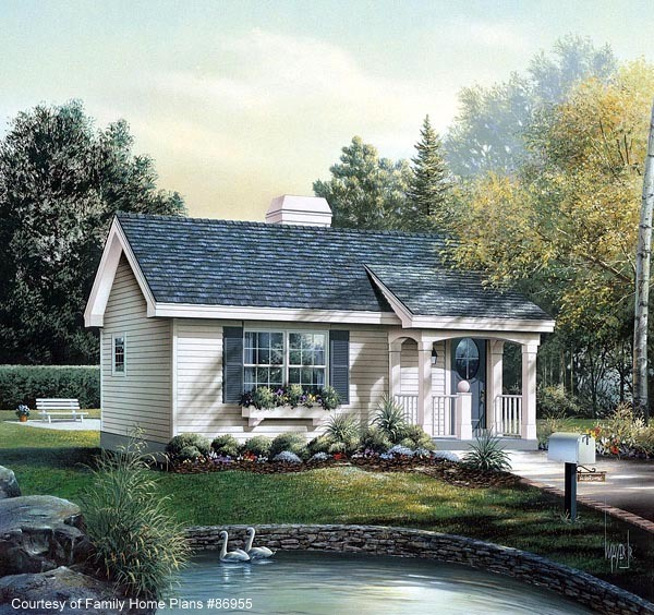 Small Cabin House Plan With Nice Front Porch