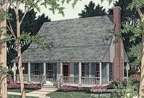 a small country house plan with porches