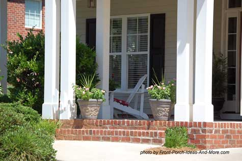 Small front porch with Adirondack chairs