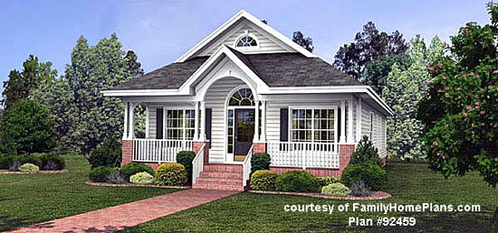 boomer style home plan with porch from FamilyHomePlans.com #92459