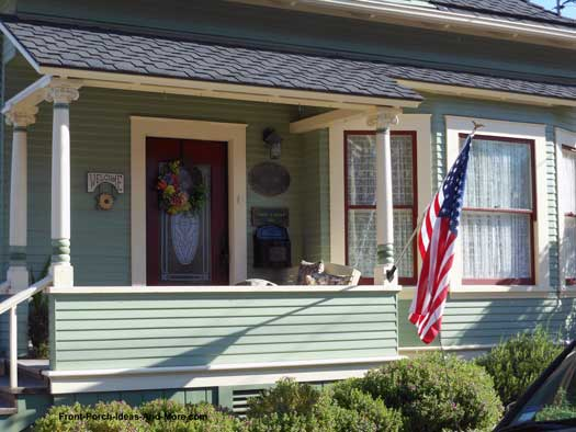 beautifully decorated small porch - Stone Slab Canopy Decorating