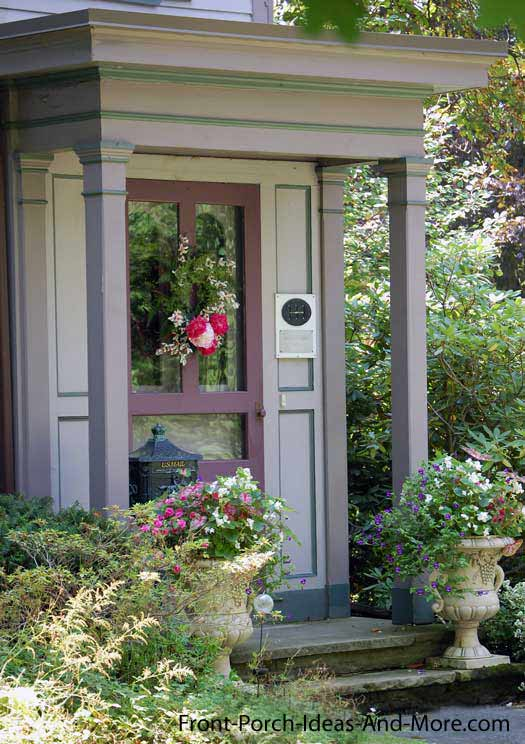 small front porch in lavendar