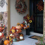 Autumn decor for a small front porch