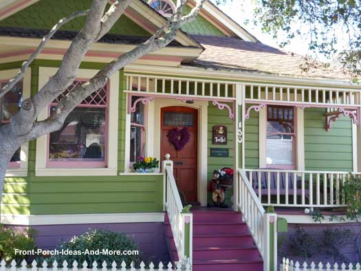 brightly colored small front porch