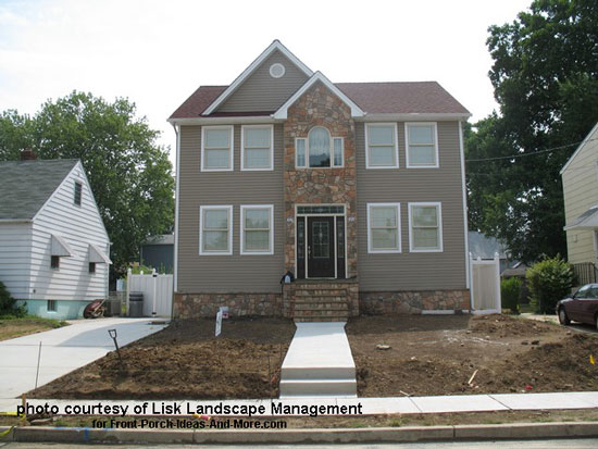 New house construction before landscaping
