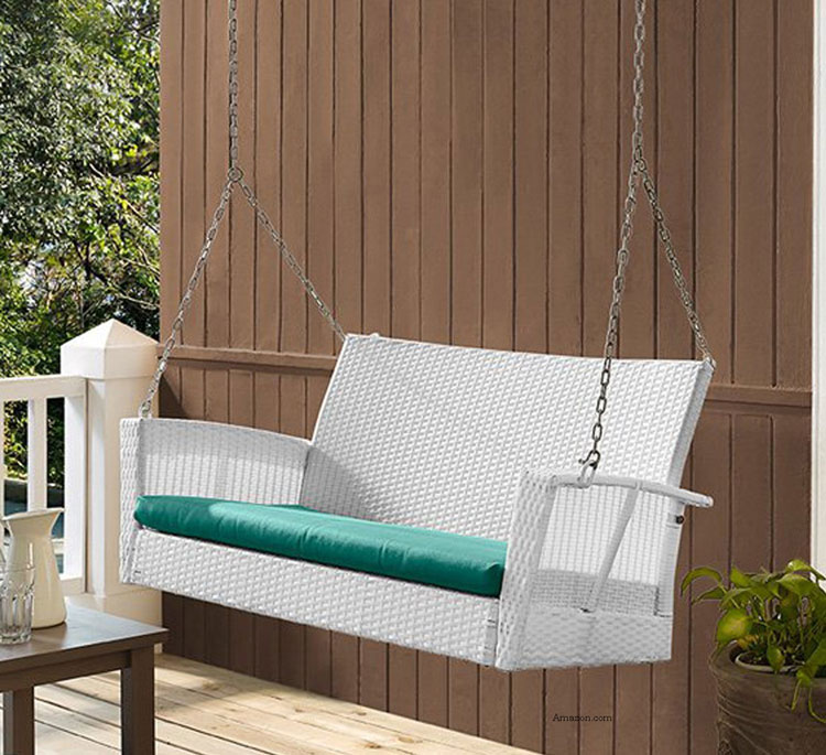 soho white wicker porch swing with turquoise cushion