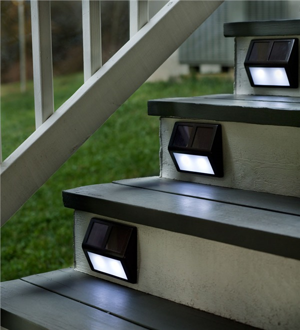 Nicely lit porch steps for safety