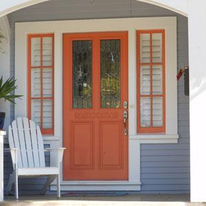 tangerine colored exterior front door