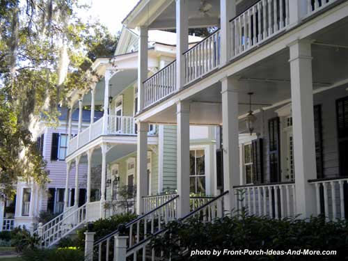 Southern home designs and southern porches see our porch for Double front porch house plans
