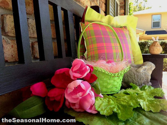 colorful spring decorations on Eileen's outdoor bench