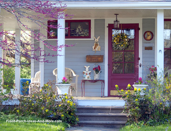 front porch decorated for spring and Easter