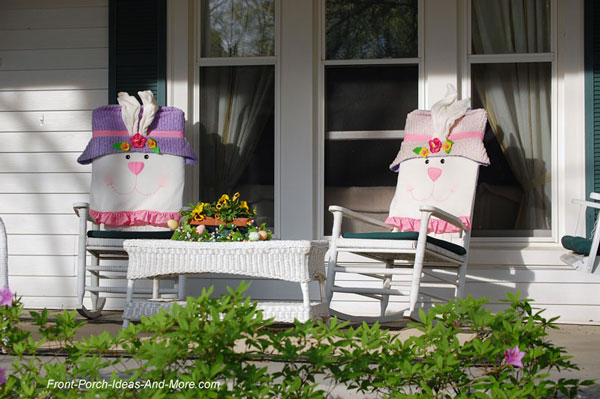 rocking chairs decorated for spring or Easter