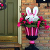 bunny artwork on front porch