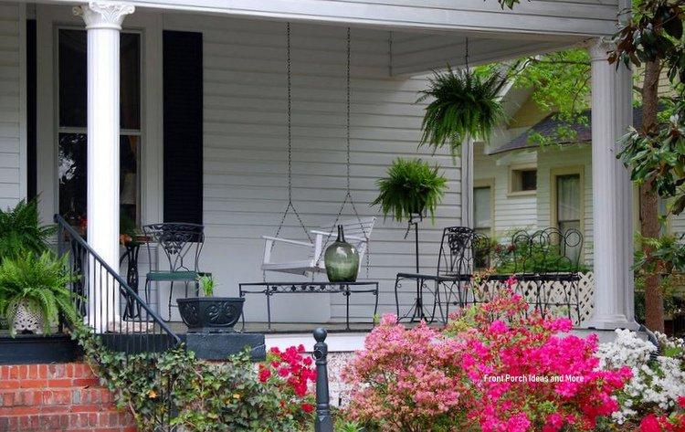 Southern porch with azaleas