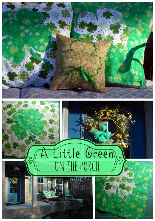 collage of our St. Patrck's Day porch decorations