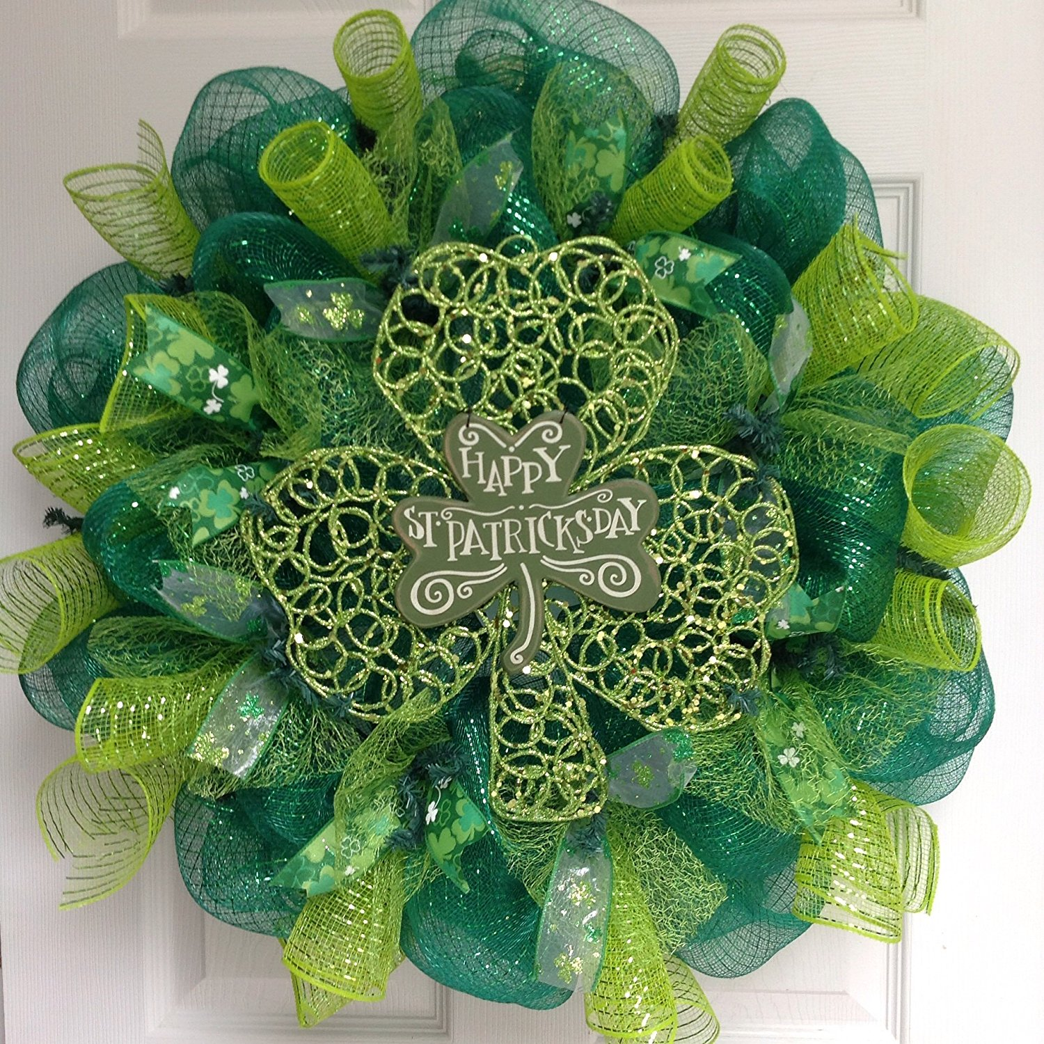 Happy St Patrick's Day Glittering Shamrock Deco Mesh Wreath from Amazon.com