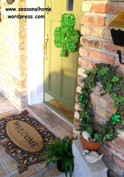 Eileen's front door decorated for St. Pat's Day with a shamrock wreath