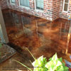 bronze stained concrete with border on front porch