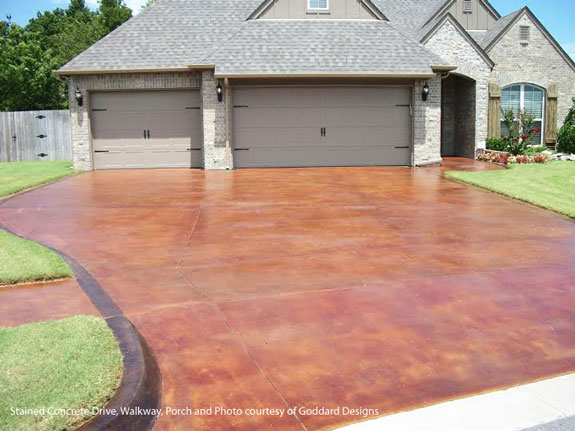 aesthetically pleasing stained concrete driveway