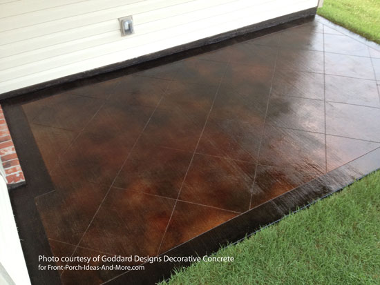 Stained Concrete On Patio With Very Dark Border