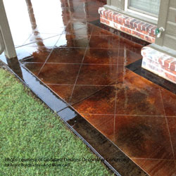 beautifully stained concrete porch floor and steps