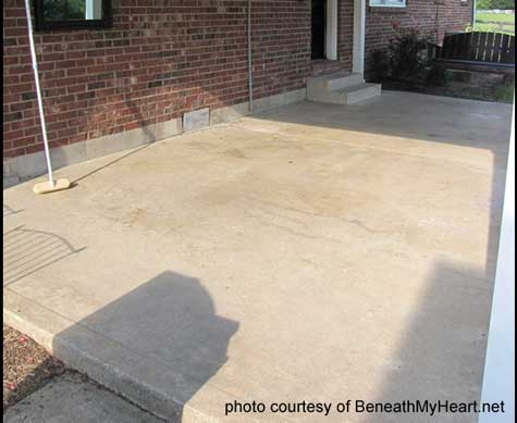 patio with stained concrete in diamond pattern