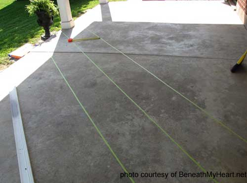 marking off sections for staining concrete floors tiles