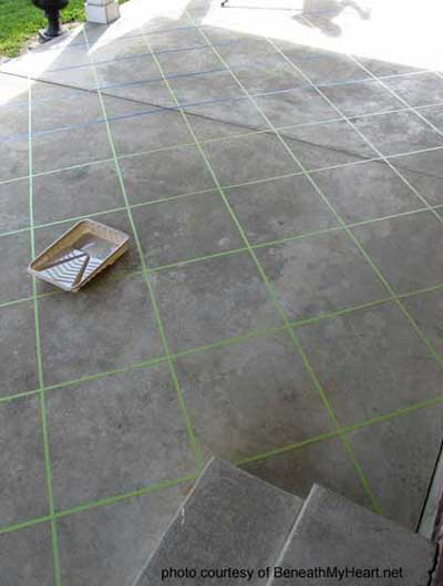 tile patterns with tape for staining concrete floors