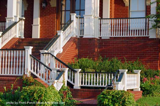 Beautiful stair hand rails on brick home