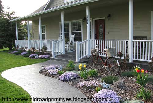 stamped concrete sidewalk leading to front porch - Sidewalk Design Ideas