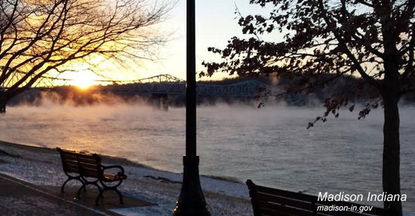 steam rising on the Ohio River at Madison Indiana