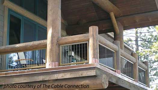 Steel Cable Railings On Log Home Balcony
