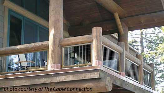 Steel Cable Railings On Log Home Balcony