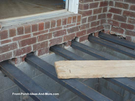 steel channels positioned on block foundation
