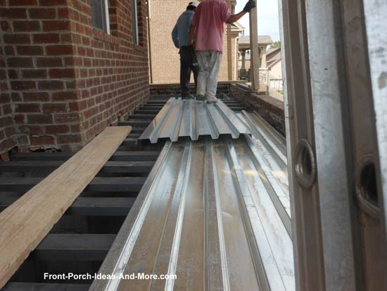 steel channels and sheathing for concrete porch
