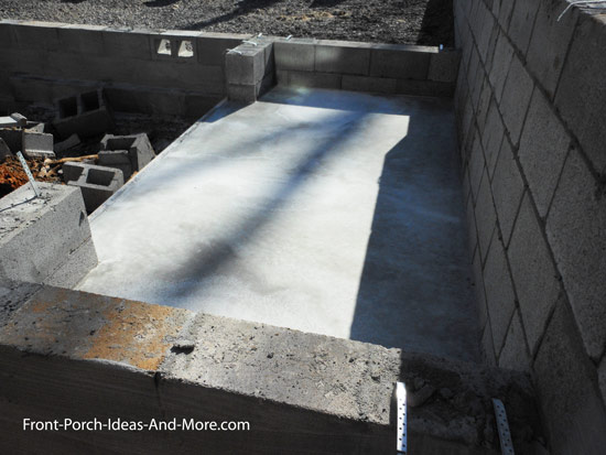 storage shed floor with poured concrete