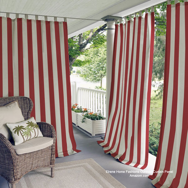 Elrene Outdoor Red Stiped Curtain Panel