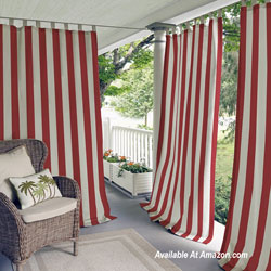 striped porch curtains on blue front porch