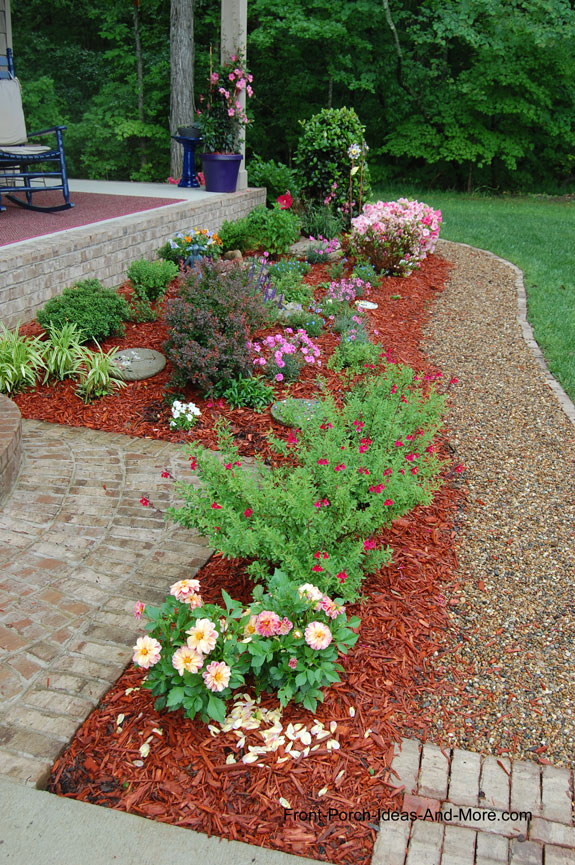 cottage garden landscaping in front of porch