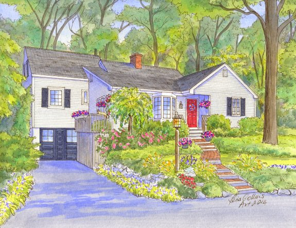 house portrait painting - four seasons - summer - watercolor by Leisa Collins