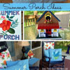 leaf stencils on pillows and porch sign