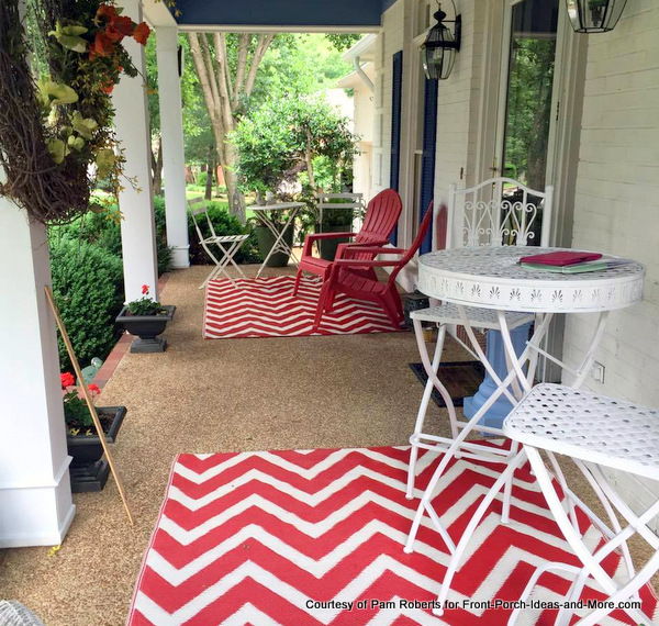 Red and white summer colors on Pam's front porch